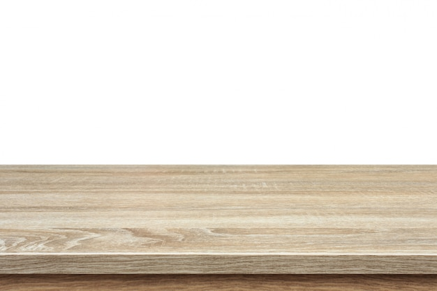 Brown wooden table or counter isolated on white Premium Photo