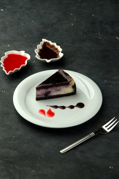 Brownie with blueberry on the table Free Photo