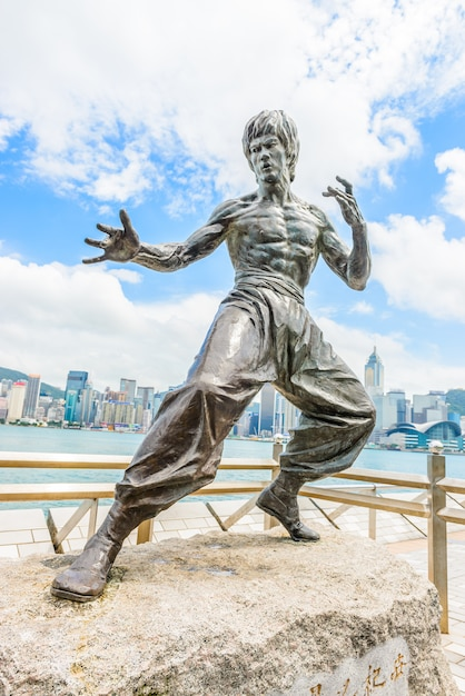 Bruce lee statue at the avenue of stars Free Photo