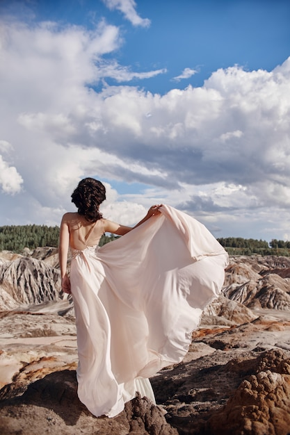 Brunette in pink dress stands on a cliff, the wind ruffles a dress Premium Photo