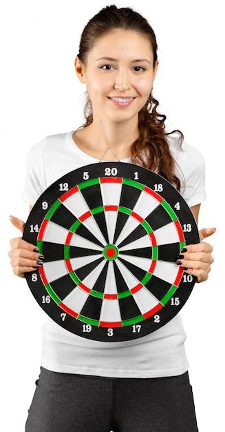 Brunette woman portrait with target. Premium Photo