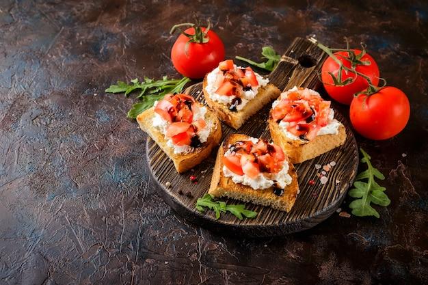 Bruschetta with tomatoes Premium Photo