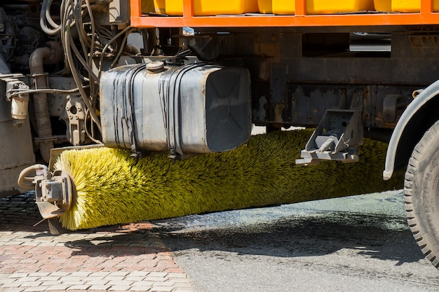 Brush cars for street cleaning. Premium Photo