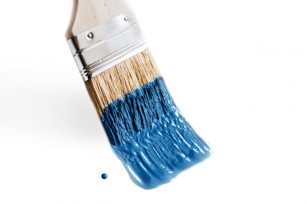 Brush in paint classic blue color of the year 2020. concept of change and renovation isolated Premium Photo