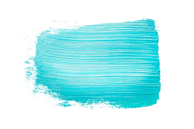 Brushstroke of blue color on white Free Photo