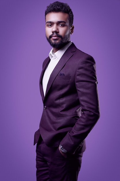 Brutal young african american male model in formal fashion suit Premium Photo