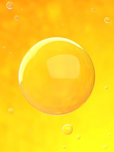 Bubbles in orange water 3d render Premium Photo