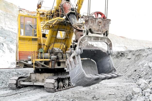 Bucket excavator volume of 10 meters cubic. Premium Photo