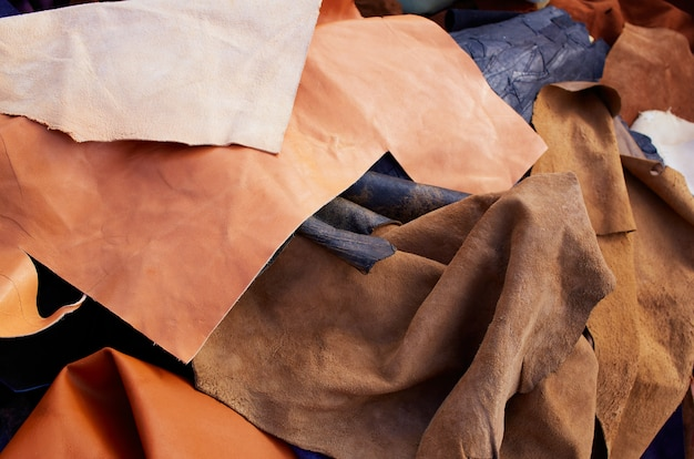 Buckskin suede leather messy mixed  materials Premium Photo