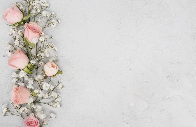 ピンクのバラのbudと白い花の品揃え 無料写真