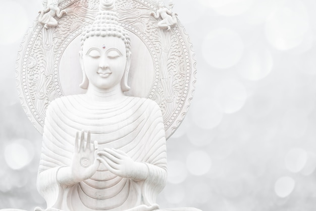 Религия будды белый тон Premium Фотографии