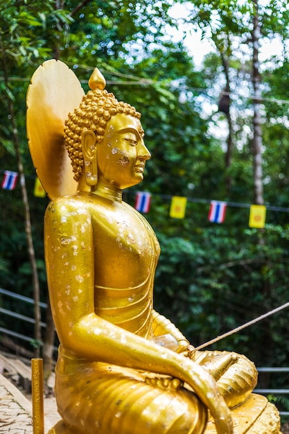 Buddha statue on the way up at the stone with the footprint of lord buddha Premium Photo