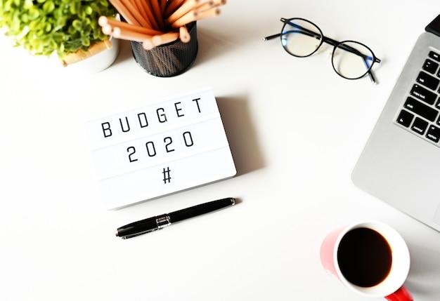Budget 2020 on office desk Premium Photo