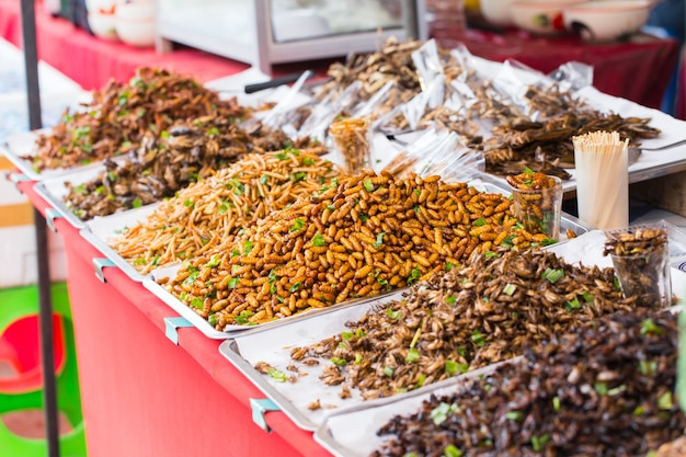 バグの揚げた販売ビジネスアジアの昆虫のスナック食品 Premium写真