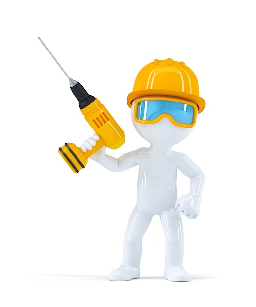 Builder with drill. Free Photo