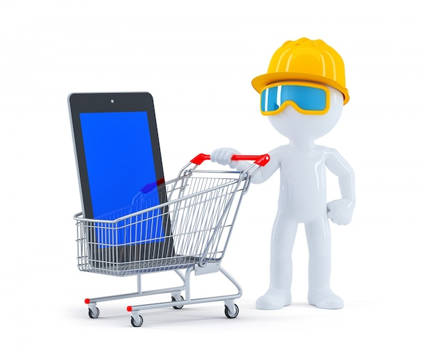 Builder with shopping cart and blank screen tablet Free Photo