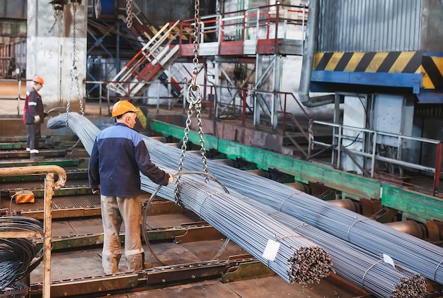 Building armature are located in the warehouse of metallurgical products. element of the constructional structure. Premium Photo