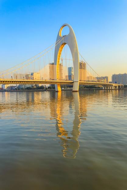 Building landmark, urban landscape of guangzhou city at sunset time, china Premium Photo