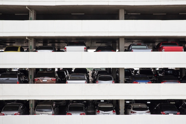 Building parking deck levels and rows in high building in the city Premium Photo