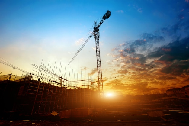 Building site with a sunset view Premium Photo