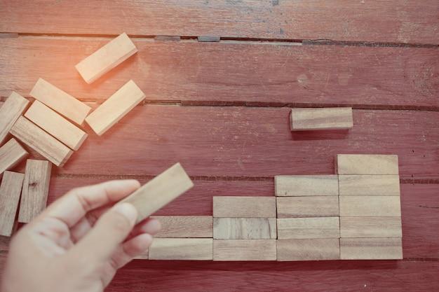 Building wood blocks, plan and strategy Premium Photo