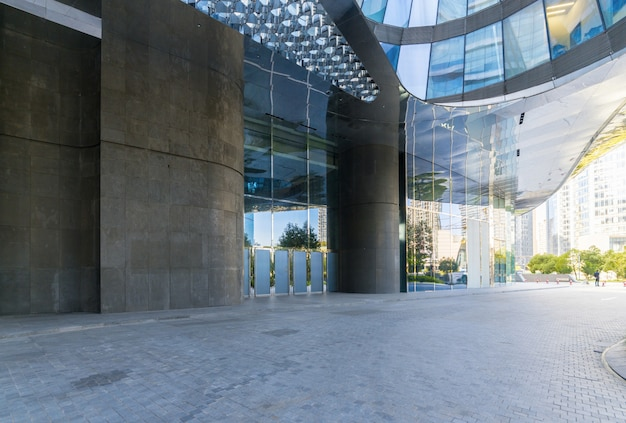 Buildings with empty concrete square floor,qianjiang new town,hangzhou,china Premium Photo