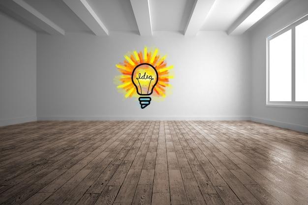 Bulb drawn on a wall Free Photo