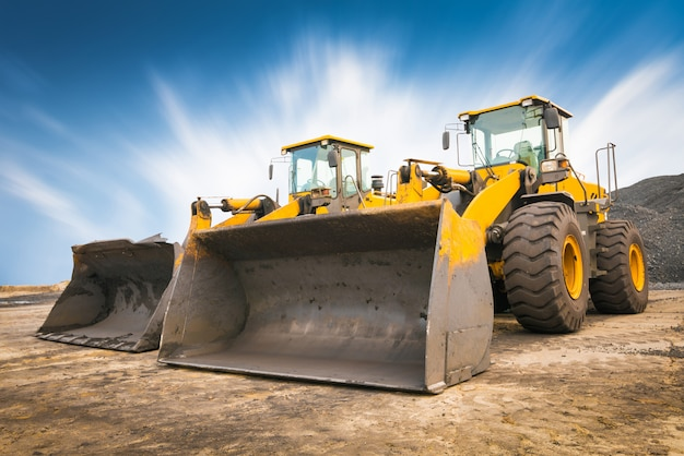 Bulldozer on a building site Premium Photo