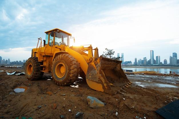 Bulldozer on a building site Premium Photo