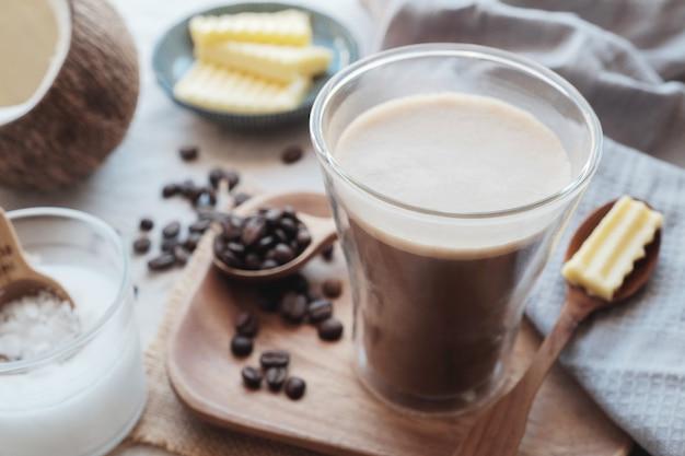 Bulletproof coffee, ketogenic food Premium Photo
