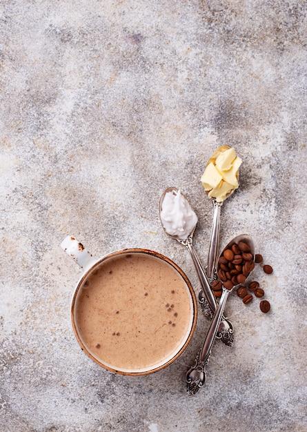 Bulletproof coffee. ketogenic low carb drink Premium Photo