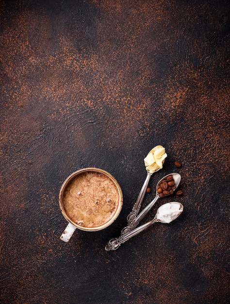 Bulletproof coffee. ketogenic low carb drink Premium Photo