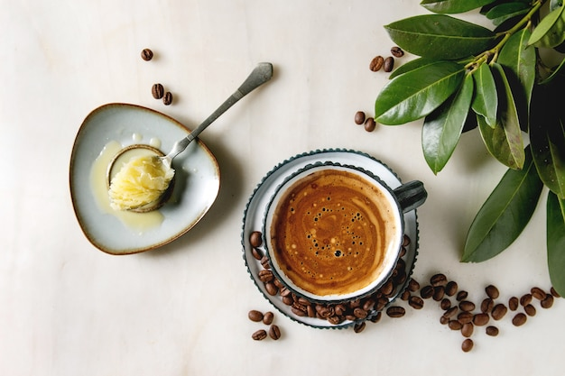 Bulletproof coffee with butter Premium Photo