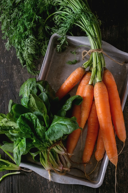 Bunch of carrot and spinach Premium Photo