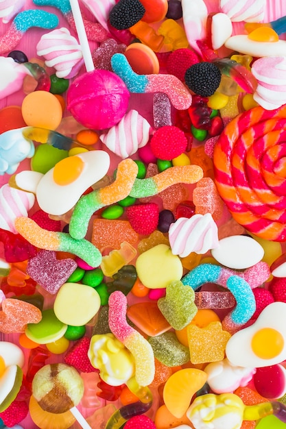 Bunch of colorful candies Free Photo