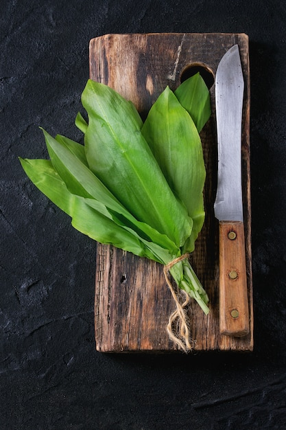 Bunch of fresh ramson Premium Photo