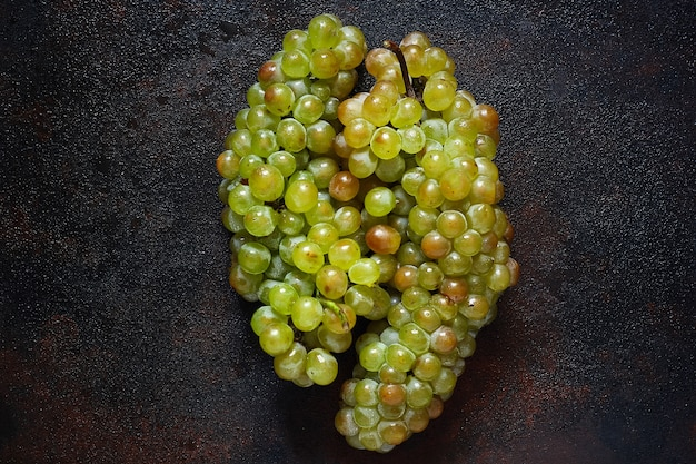 Bunch of green grapes, top view Free Photo