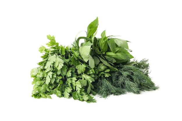 Букет свежей зелени, изолированные на белом фоне Premium Фотографии
