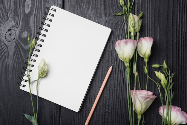 Bunch of purple eustoma flowers with pencil and blank spiral notepad on wooden desk Free Photo