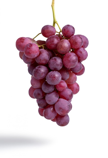Bunch of red grapes isolated on white Premium Photo