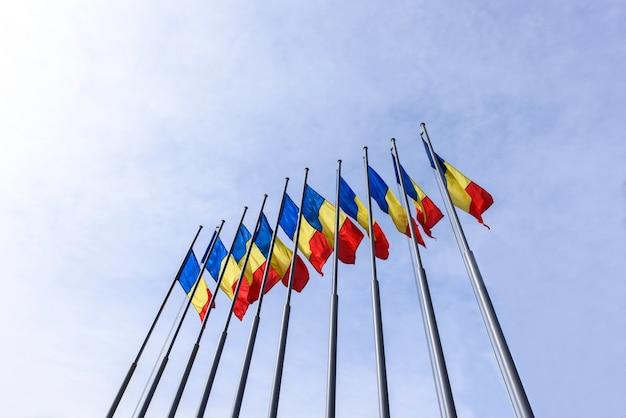 Bunch of romania flags Premium Photo