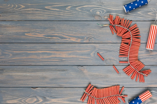 Bunches of fireworks on table Free Photo