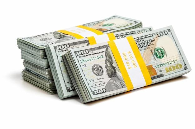 Bundles of 100 us dollars 2013 edition bills Premium Photo
