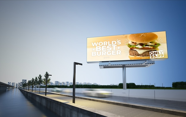 Burger billboard on highway 3d rendering mockup Premium Photo