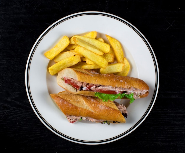 Burger with tuna and french fries Free Photo