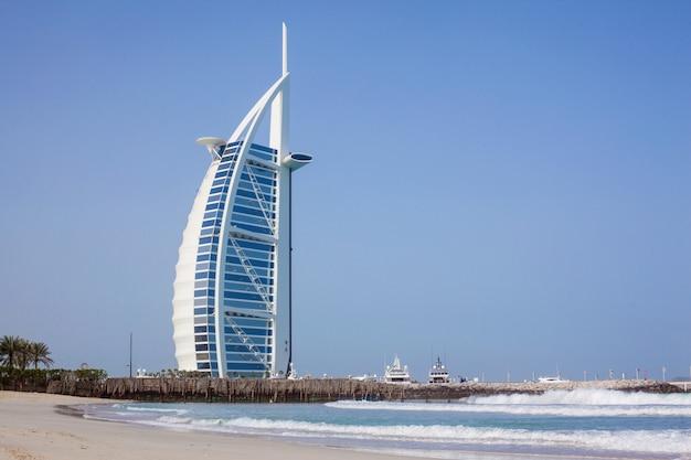 Burj al-arab in the daytime, sea and blue sky Premium Photo