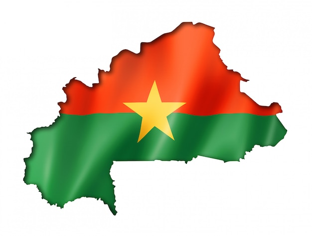 Burkina faso flag map Premium Photo