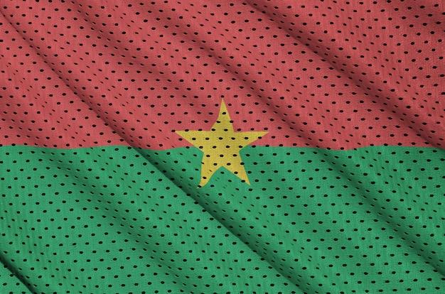 Burkina faso flag printed on a polyester nylon sportswear mesh fabric Premium Photo