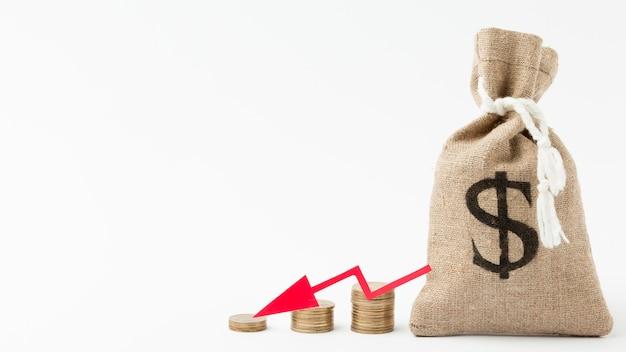 Burlap sack of money bankruptcy concept Free Photo