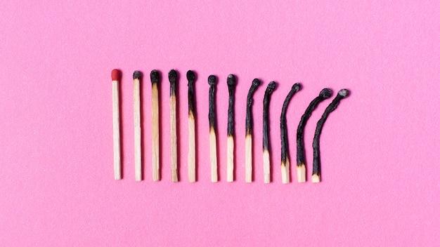 Burned matches arrangement Free Photo